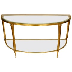Regency Style Brass and Glass Demilune Console