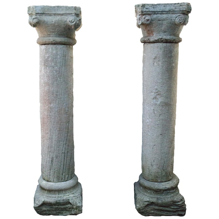 Pair of Anglo-Indian stone columns, 18th century