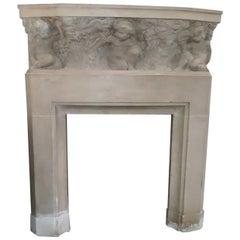(Attributed) Paul Hagemans Rare Art Deco Stone Fireplace, Neoclassic ,circa 1940