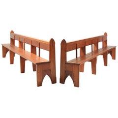 Mid-Century Modern Solid Oak Large Bench Wabi Sabi Style