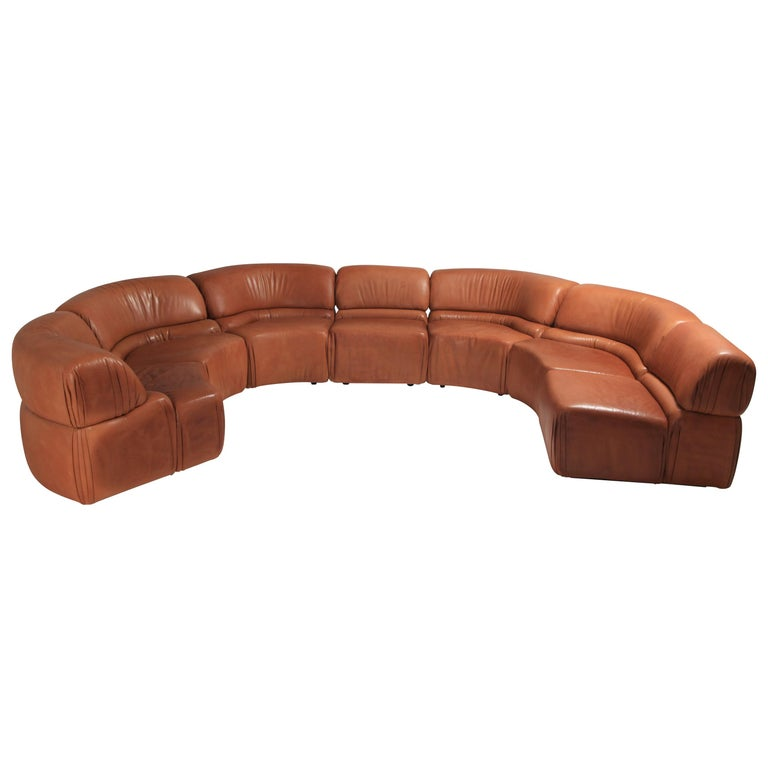 Sectional Cognac Leather Sofa 'Cosmos' by De Sede, Switzerland For Sale