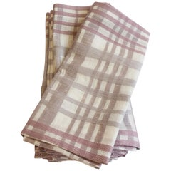 Tonal Purple Plaid Linen Napkins