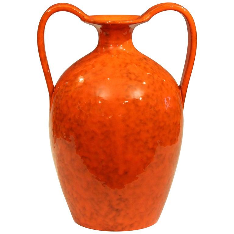 Vintage Italian Pottery Bright Atomic Orange Italica Ars Rosenthal-Netter Vase For Sale