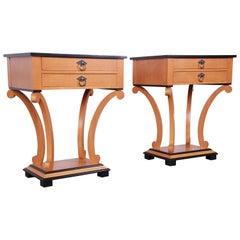 Baker Furniture Biedermeier Style Nightstands, Fully Restored