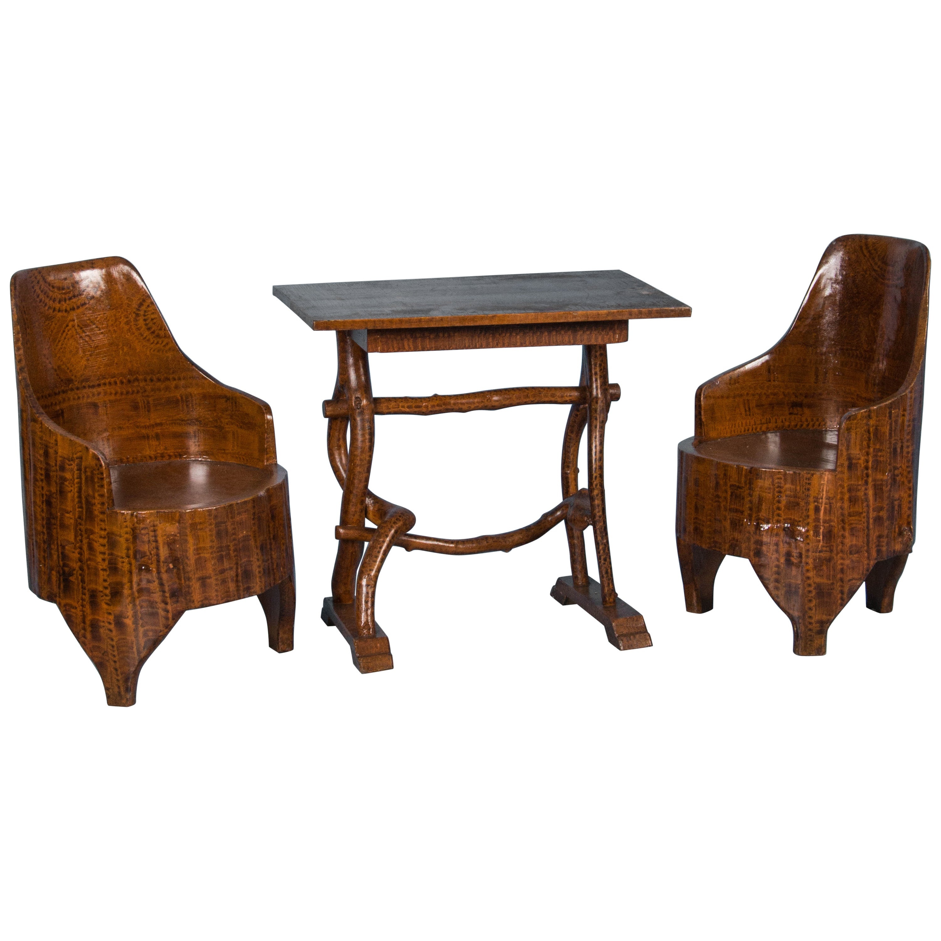Folk Art Painted Antique Swedish Table and Chairs