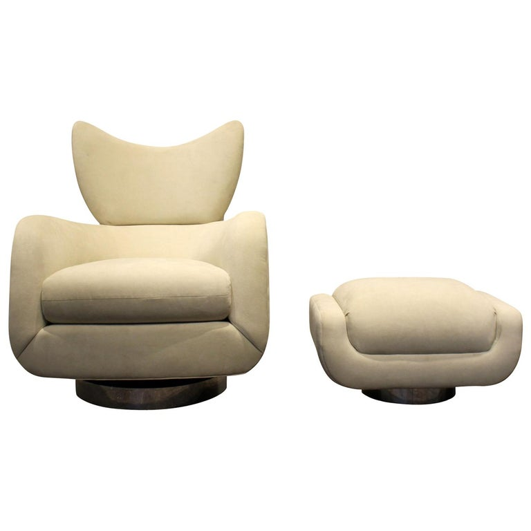 Modern Swivel and Rock Lounge Chair and Ottoman in White by Vladimir Kagan For Sale