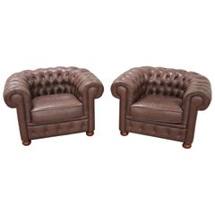 20th Century Vintage Pair of Leather English Chesterfield Armchairs