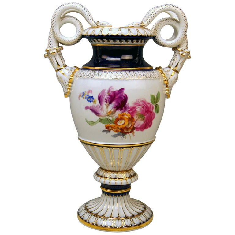 Meissen Snake Handles Vase Painted by Leuteritz, circa 1870 For Sale