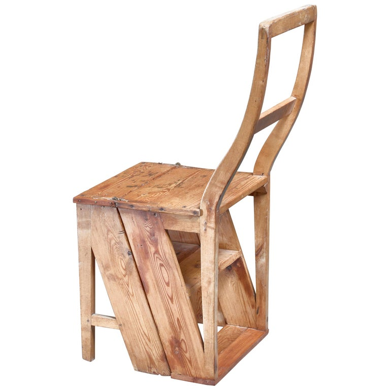 Swedish 19th Century Step Chair in Pine For Sale