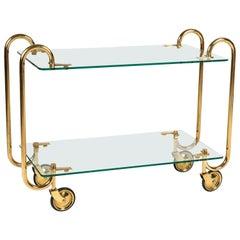 Brass and Glass Drinks Trolley by Fontana Arte