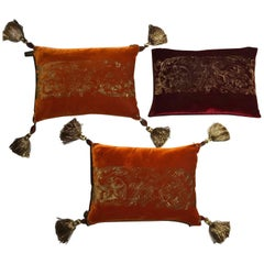 Fortuny Venice Style Set Three Orange Silk Pillows in Golden Color Hand Printed