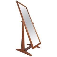 Mid-Century Modern Full Length Teak Mirror by Pederson and Hansen