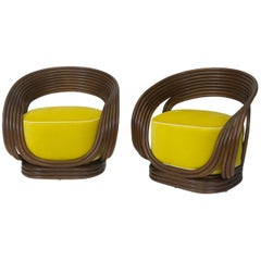 Rattan Chairs with Gold Velvet Cushion