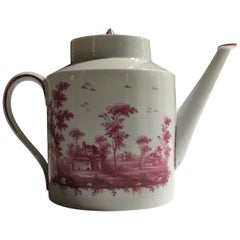 Richard Ginori Late 18th Century Porcelain Tea Pot with Hand Painted Landscapes