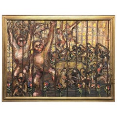 "Oil Painting By Hungarian Artist Roman Gyorgy ""Monkeys"", 1965"