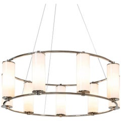 Modernist Circular 9-Light Chandelier, Nickel-Plated Brass with Glass Cylinders