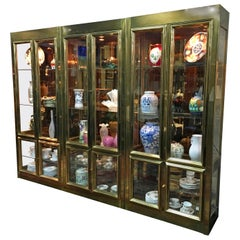 Set of Three Mastercraft Brass Vitrines Display Cabinets