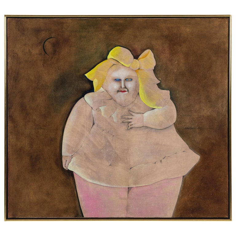 Fat Girl with a Yellow Bow, Oil Painting by Mary Spain, '1934-1983'