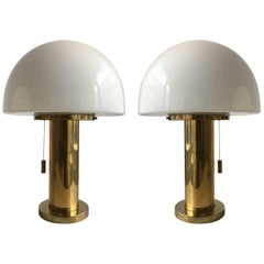 Glashütte Limburg Mushroom Pair Table Lamps Satin Glass, Germany, 1970s