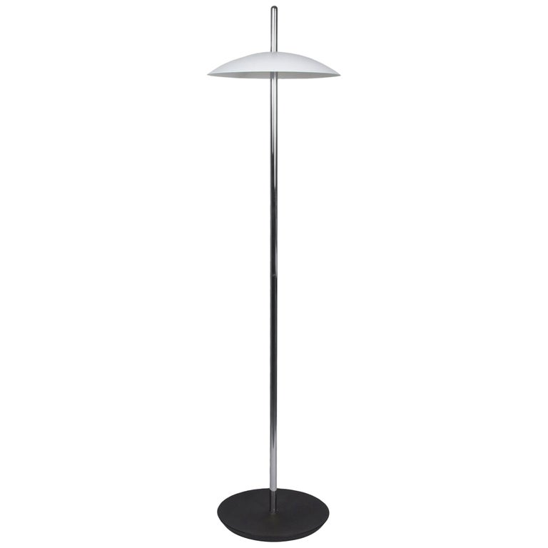 Customizable White and Nickel Signal Floor Lamp from Souda, in Stock