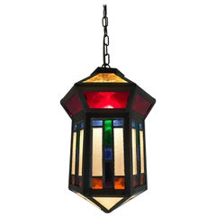 Handcrafted Stain Leaded Glass Geometric Design Art Deco entry hall Pendant