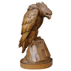 Hand Carved Nutwood Swiss Black Forest Eagle Sculpture Marked Interlaken, 1923