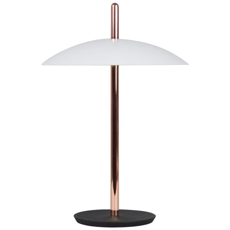 Customizable Signal Table Light from Souda, White x Copper, Made to Order For Sale