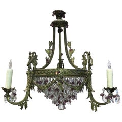 French Bronze, Crystal and Amethyst Chandelier