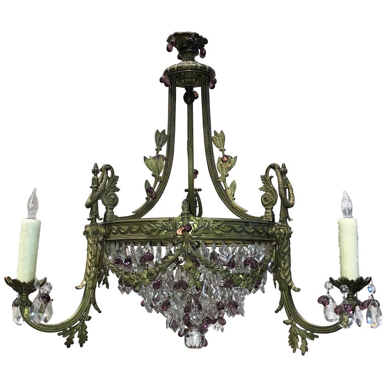 French Bronze, Crystal and Amethyst Chandelier For Sale