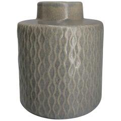Danish Modern Vintage Sage Green Handmade Ceramic Vase, 1960s