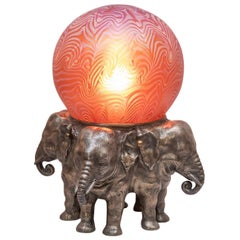 Austrian Bronze Elephant Lamp with Art Glass Shade