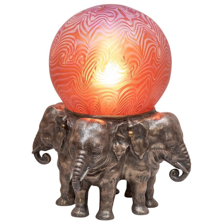 Austrian Bronze Elephant Lamp with Art Glass Shade For Sale