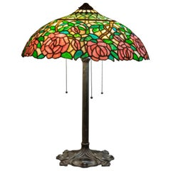 Antique American Leaded Glass Table Lamp, Full Floral Rose Pattern by Gorham