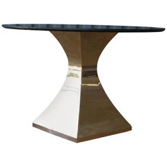 Dining Table with Quartz Stone Top on a Brass Plated Base