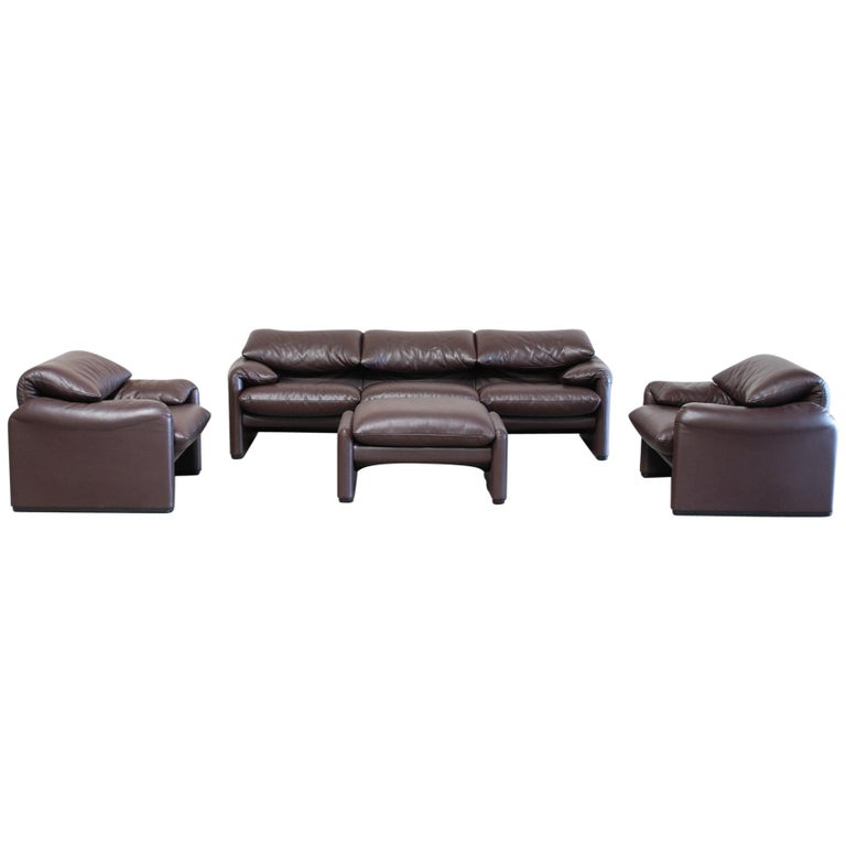 Cassina Maralunga Ensemble Leather Sofa and 2 Chairs and 1 Ottoman