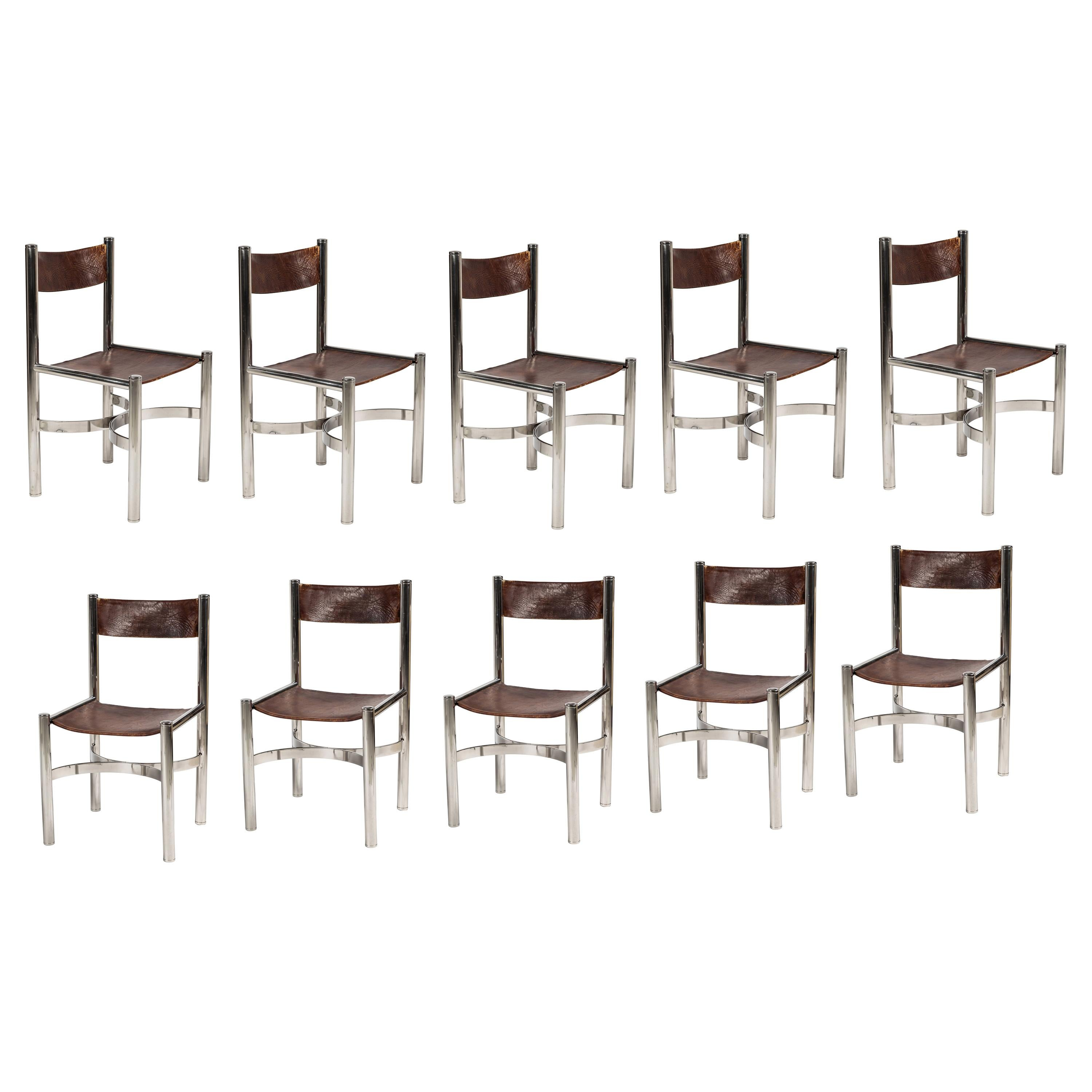 Set of 10 Chrome and Leather Dining Chairs by Dada International