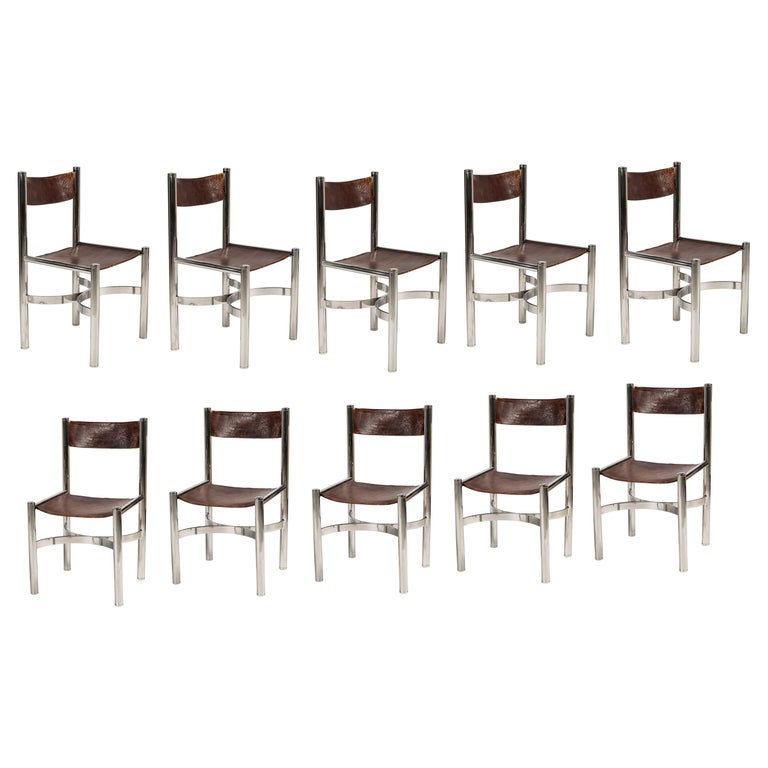 Super Set Of 10 Chrome And Leather Dining Chairs By Dada International Beatyapartments Chair Design Images Beatyapartmentscom