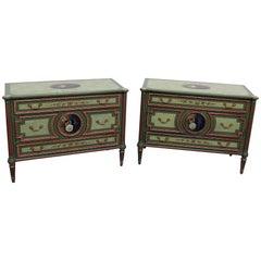 Pair of Maitland Smith Louis XVI Style Commodes