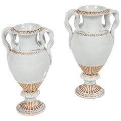 Pair of Snake Handled Meissen Urns