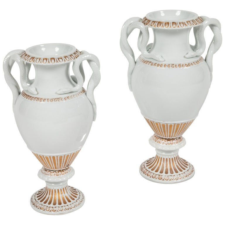 Pair of Snake Handled Meissen Urns For Sale