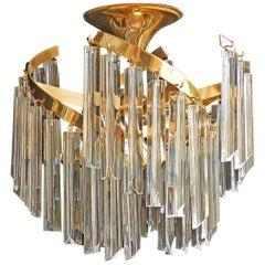 Italienische Murano Spiral Venini Camer Triedi Klares Kristall Prisma Vergoldeter Kronleuchter