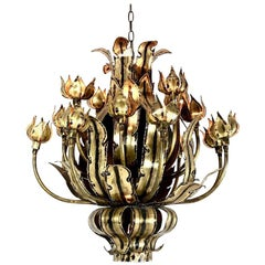 Brutalist Flower Bud Torch Cut Chandelier by Tom Greene