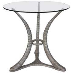 Sable Horn Glass Top Center Table by Arthur Court