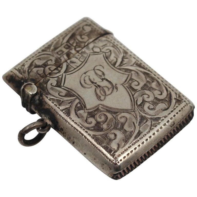 Engraved Sterling Silver Vesta Case, Birmingham, 1915 For Sale