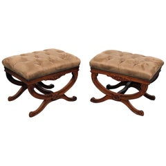 Pair of Carved fruitwood Cerule French Regency Style X Benches