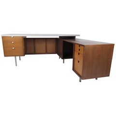 "Impressive Midcentury George Nelson ""L"" Shaped Executive Desk for Herman Miller"