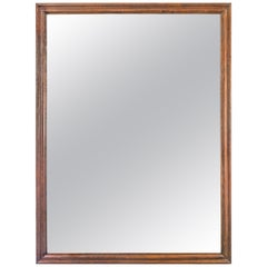 English Large Oak Framed Mirror with Antique Glass