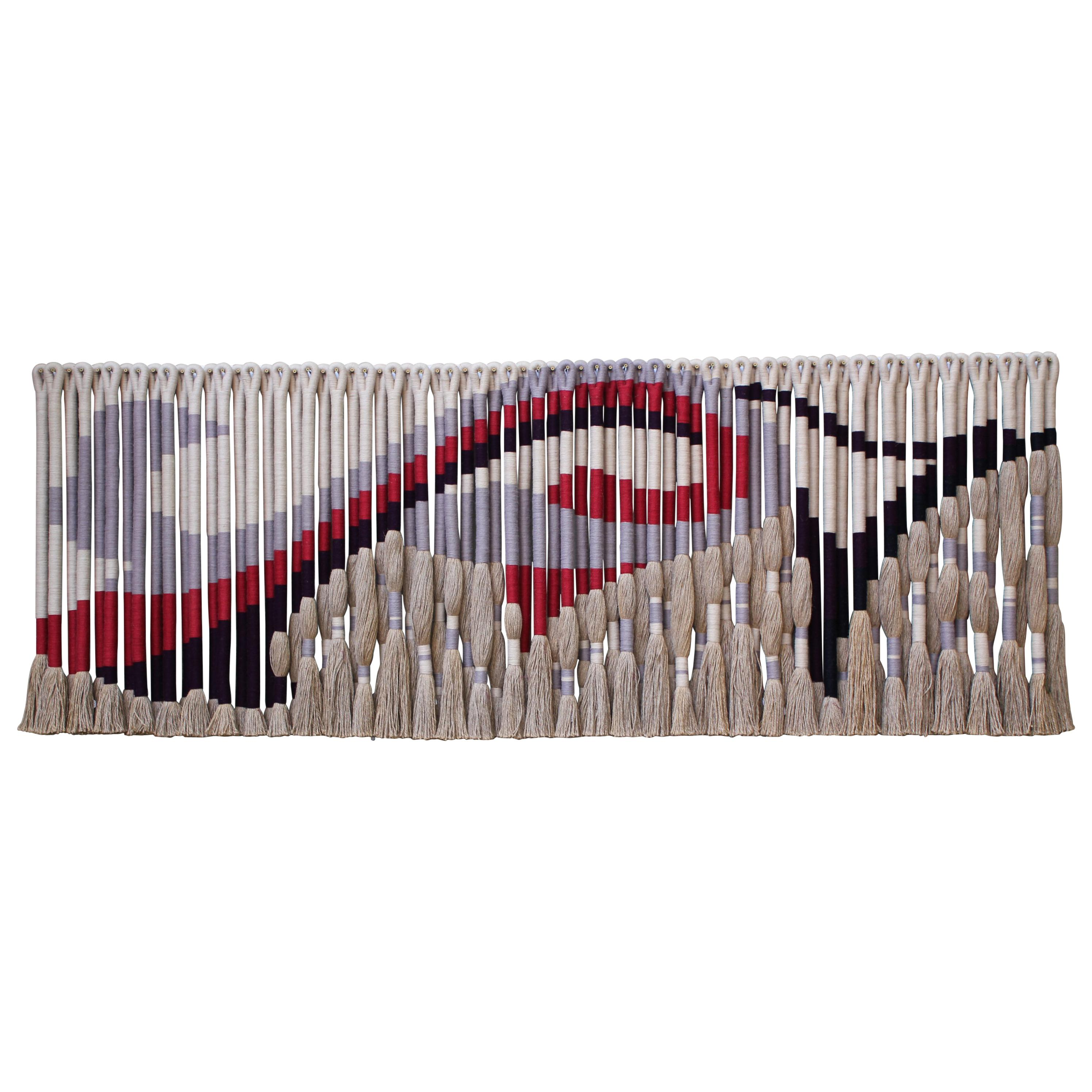Privately Commissioned Jane Knight Fiber Art Installation 'Red and Gray Wave'
