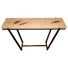 Rare One of a Kind Ancient Fossils Console Table