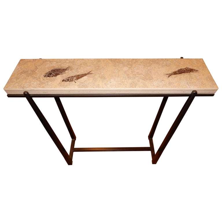 Rare One of a Kind Ancient Fossils Console Table For Sale